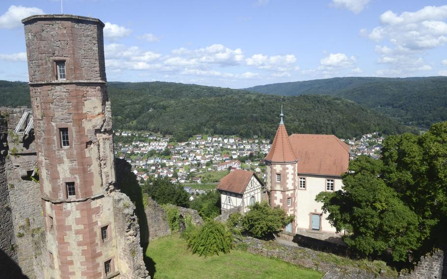 A view of the grounds of Dilsberg Fortress, including its rebuilt hexagonal main tower, at left. The tower and an adjoining wall provide 360-degree views of the Neckar River valley and Odenwald forest.