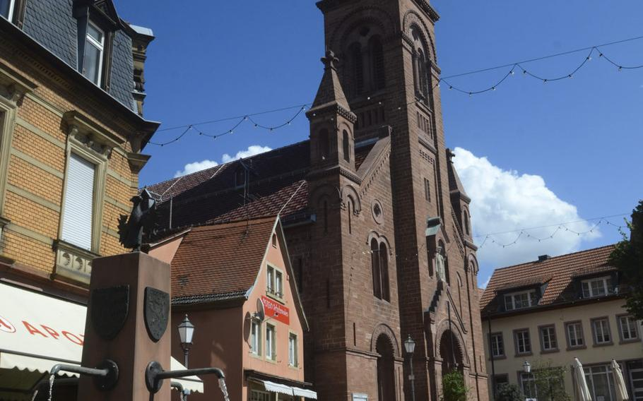 The central square of the medieval town of Neckargemuend, just outside Heidelberg. The town is situated along a gentle stretch of the Neckar River, in the Odenwald forest.
