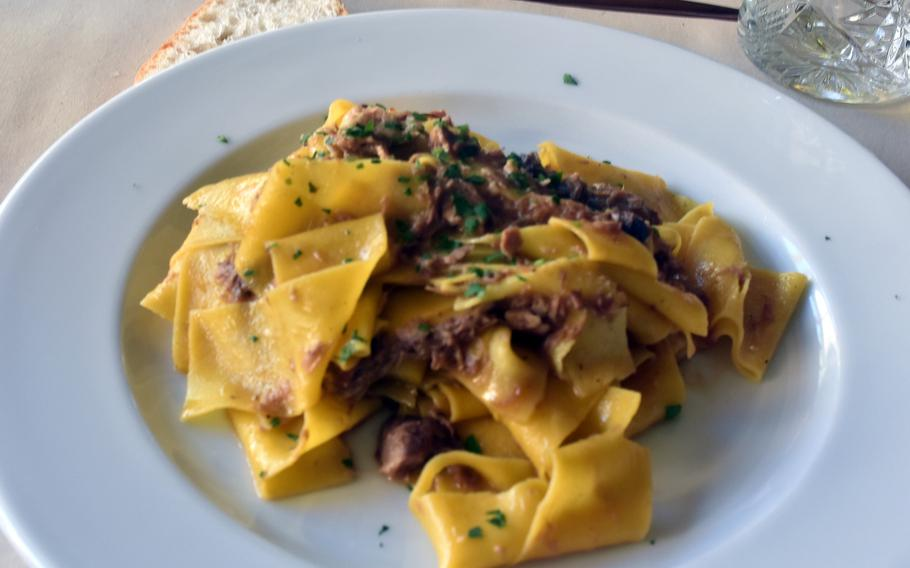 Pappardelle pasta with duck sauce was a recent first-course option at Antica Osteria Mingot in Rorai Grande, a suburb of Pordenone, Italy.