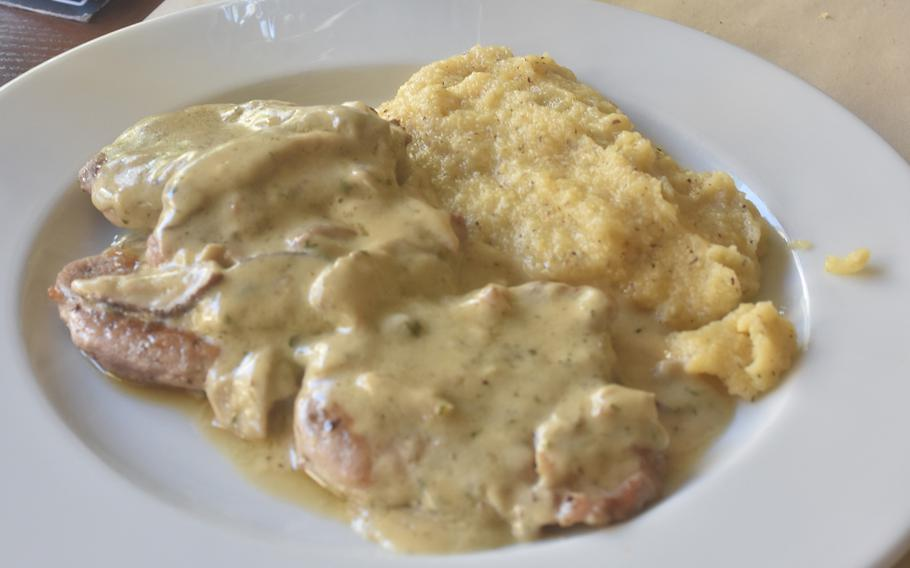 Pork fillets covered in a mushroom sauce with a side of polenta was a second-course option during a recent visit to Antica Osteria Mingot in Rorai Grande, just a 15-minute drive from Aviano Air Base, Italy.