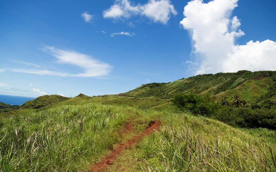 The path up Mount Lamlam, Guam, is pictured Aug. 16. The trail is never incredibly steep, but it is a steady elevation climb of more than 600 feet. Give yourself about three hours to safely complete the hike, though it can easily be accomplished in a much shorter time. The majority of the trail is open to the sun, so skin protection is a must.