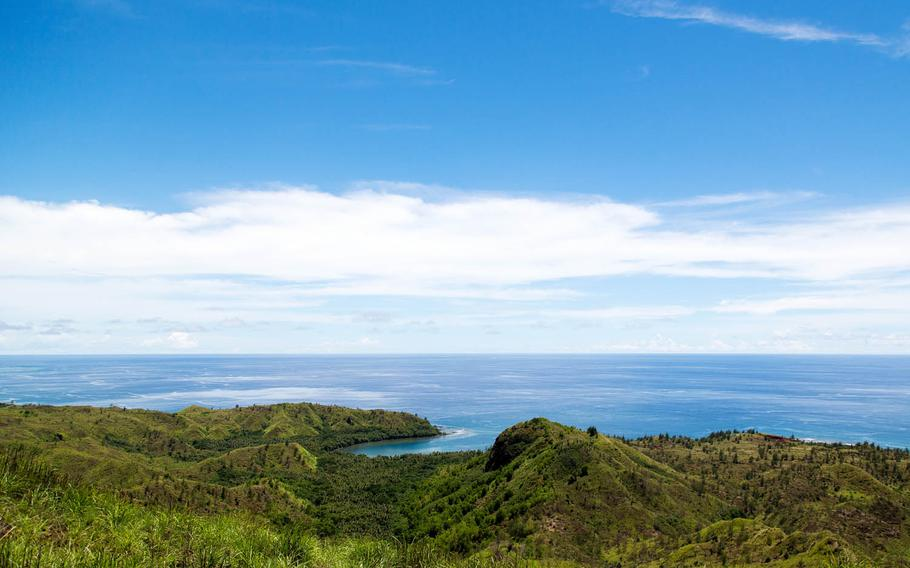 Cetti Bay, Guam, is seen Aug. 16 from the hike up Mount Lamlam.