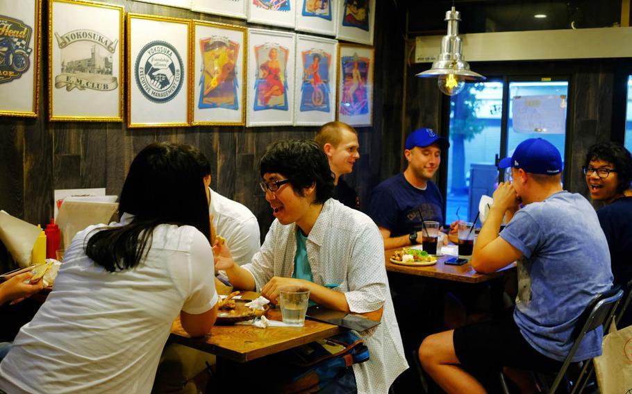 Doo Wop Diner near Yokosuka Naval Base, Japan, attracts both American and Japanese customers.