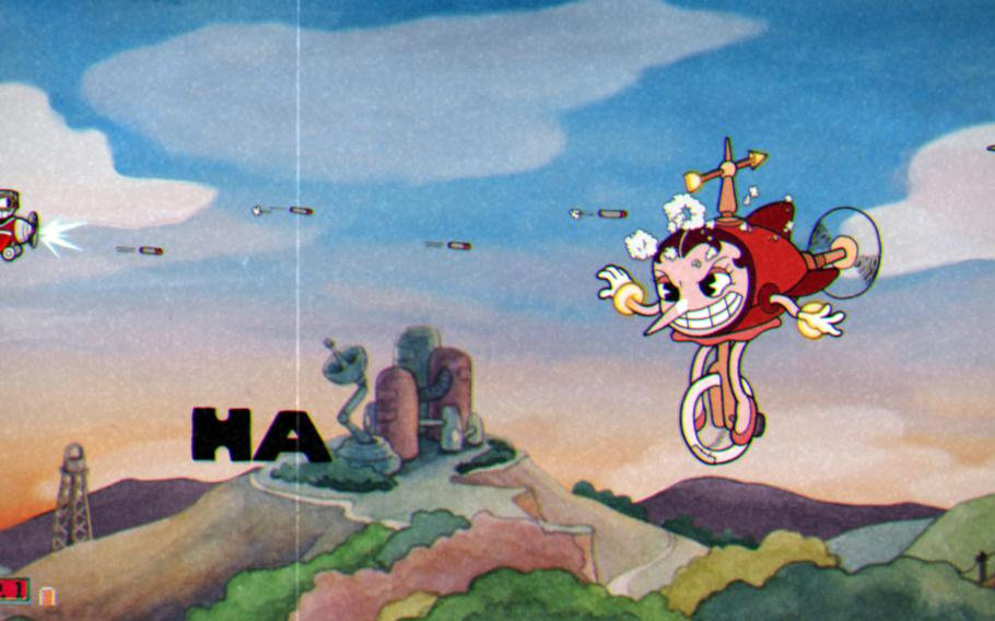 """Some of the """"Cuphead"""" boss levels send Cuphead soaring through the clouds in a biplane, replacing the platforming action with a hyperactive shooter."""