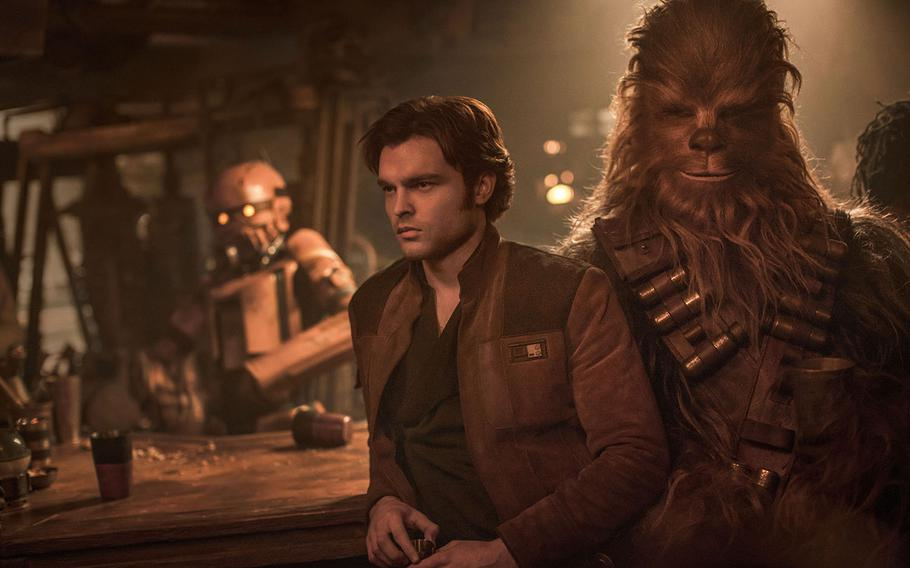 """Alden Ehrenreich is Han Solo and Joonas Suotamo is Chewbacca in """"Solo: A Star Wars Story."""""""