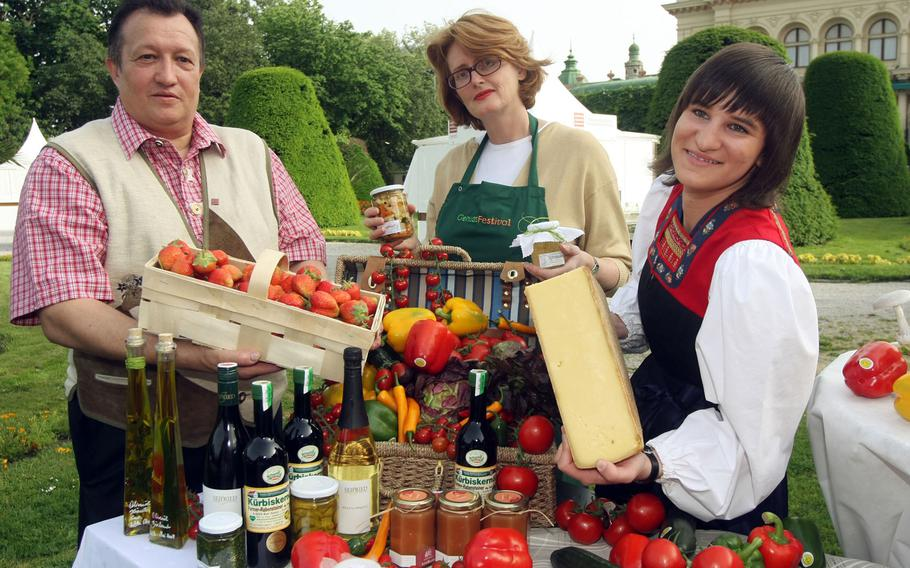 At the Genuss-Festival in Vienna's Stadtpark, tasty treats such as cheese, ham, jam and smoked fish are ready for sampling and purchase. The event runs May 11-13.