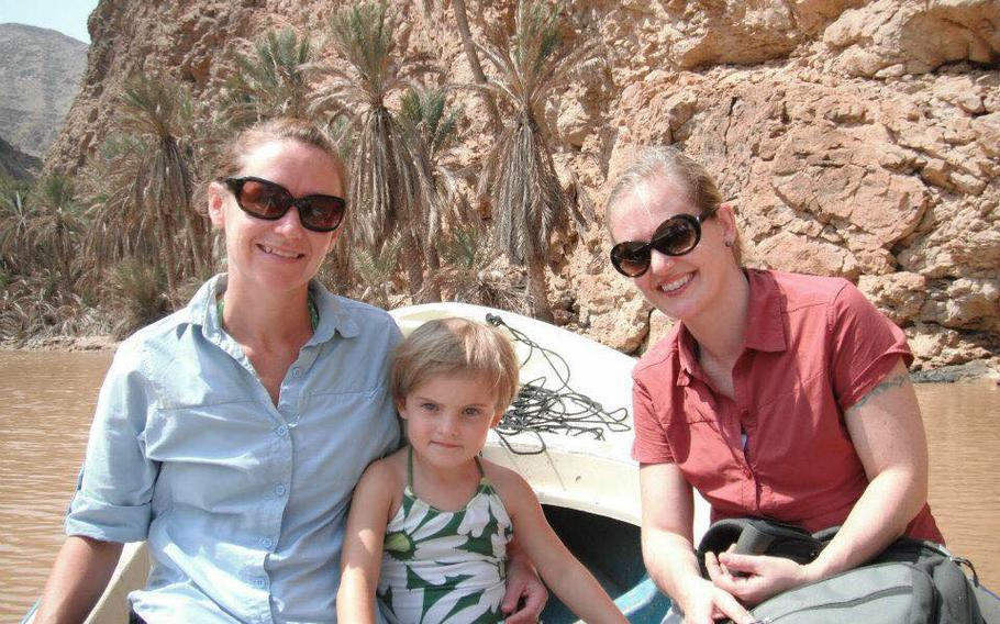 A better trip: Katie Monge; Maeve Evans and Siobhan Fallon in Wadi Shab, Oman, in 2011.