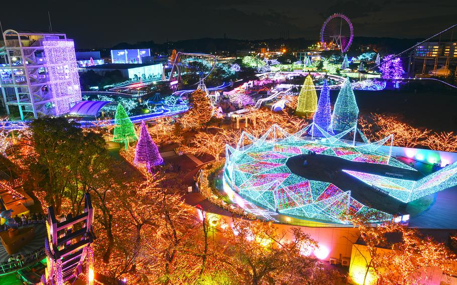 Yomiuriland's Jewellumination uses six million lights and includes a fountain show every 15 minutes. The displays run through Feb. 17.