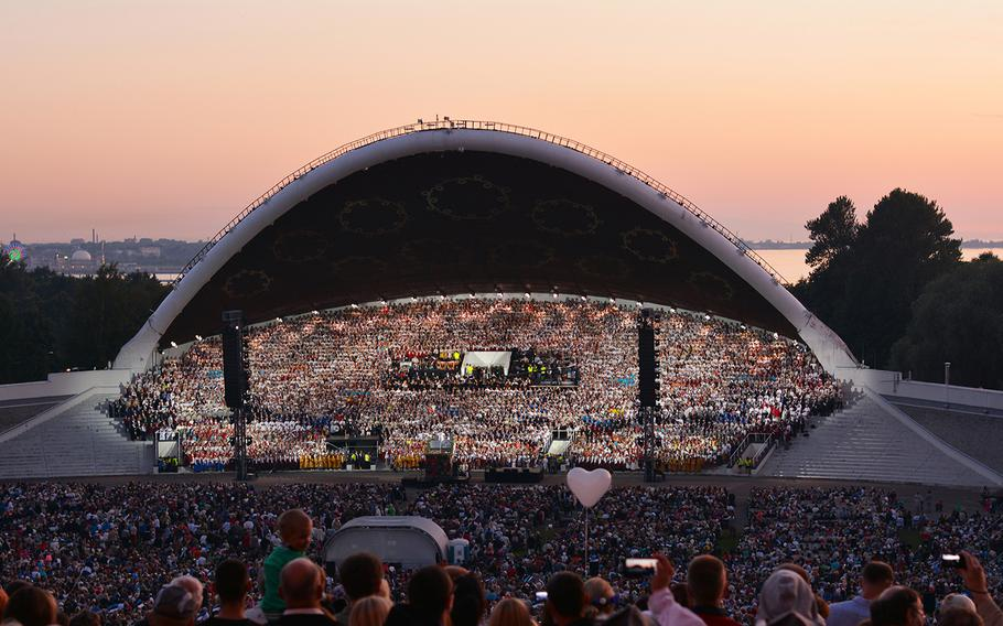 Tens of thousands sing at the Estonian Song Festival, which takes place once every five years. It's scheduled to happen July 4-7.