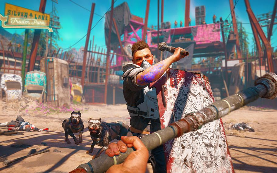 A Highwayman and a pair of dogs attack in a fighting pit run by the thuggish overlords of Hope County, Mont., in the game Far Cry New Dawn.