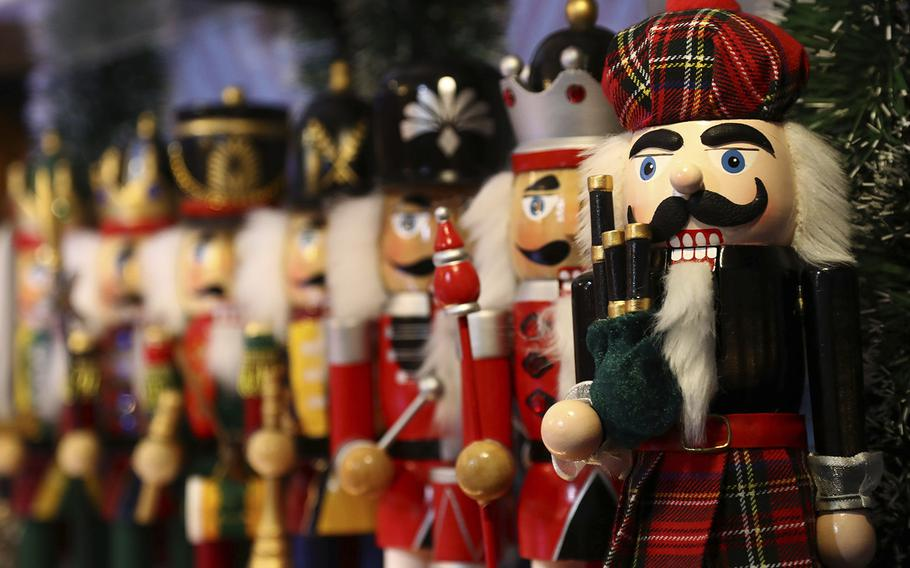 Christmas decorations, such as these nutcrackers at a traditional Christmas market in Nuremberg, Germany, abound in Europe this time of year.