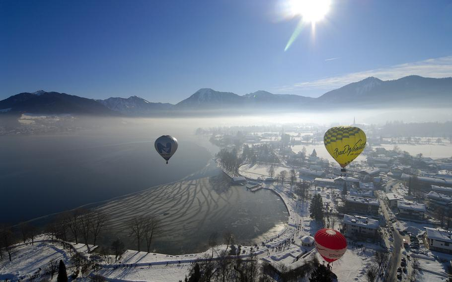 Hot-air balloons will glow and take to the skies near Bad Wiessee, Germany, through Feb. 9 for the Tegernseer Tal Montgolfiade.