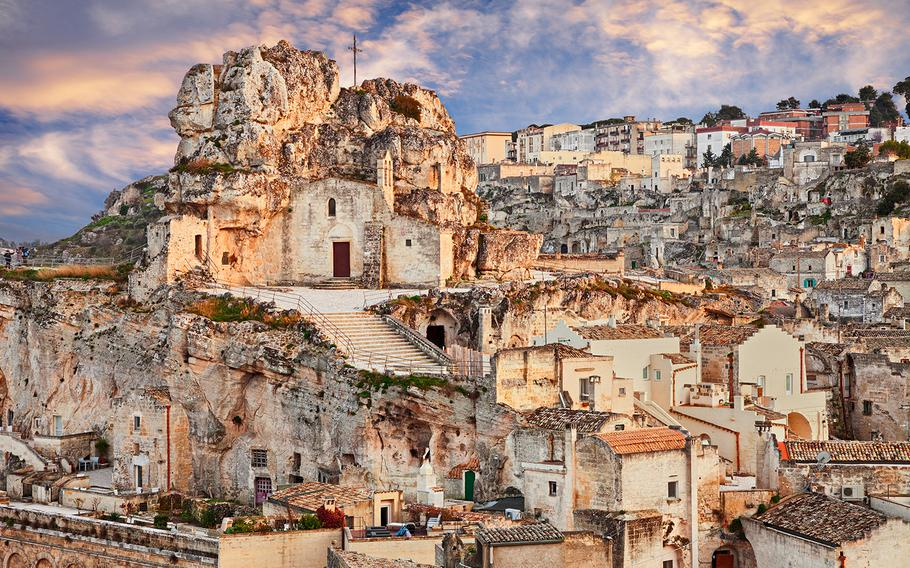 Buildings in the town of Matera, including the Santa Maria de Idris church, are hewn out of the rock in the Basilicata region of Italy.