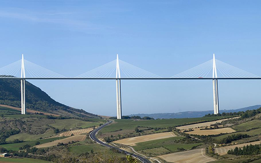 France's Millau Viaduct is 1.5 miles long, and at 1,104 feet it's the tallest bridge in the world.