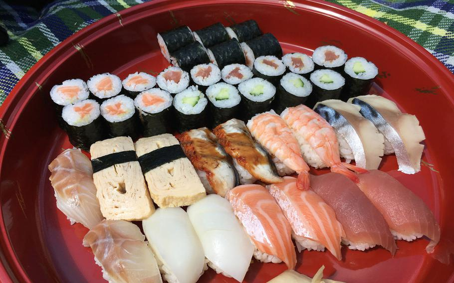 A platter of two combination sushi lunches and some added salmon rolls on a Sunday in May 2020 from Hashimoto in Saarbruecken, Germany. The offerings change based on availability.