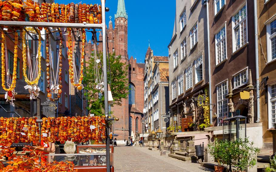 Traditional amber jewelry is amply available from vendors in the streets of Gdansk, Poland.