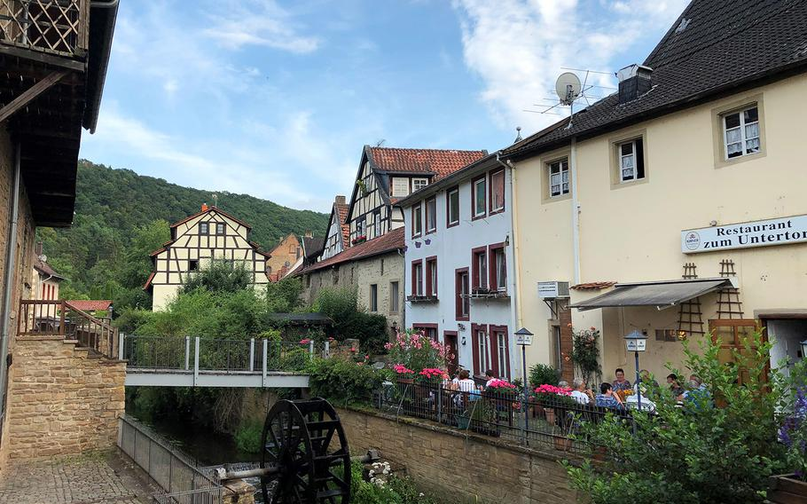 Rushing water spins a wheel and gives diners a conversation piece in Meisenheim, Germany.