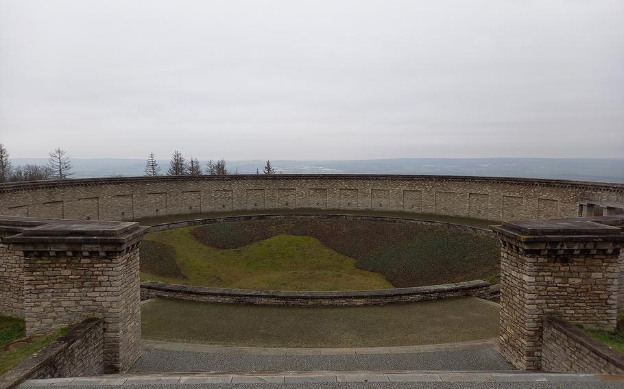 One of the three mass graves at Buchenwald, Germany. The graves are focal points in the memorial site built at the former Nazi camp by the East German government.