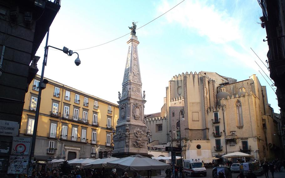 The obelisk in the center of the San Domenico Maggiore square in Naples is one of three so-called plague columns in the city.