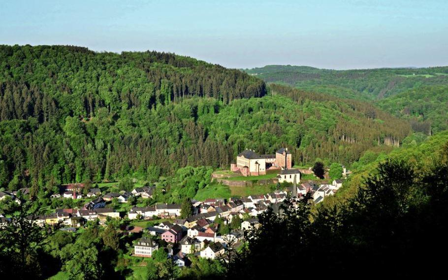 A hike north of Spangdahlem, Germany, yields a panoramic view of the village of Malberg and its castle.
