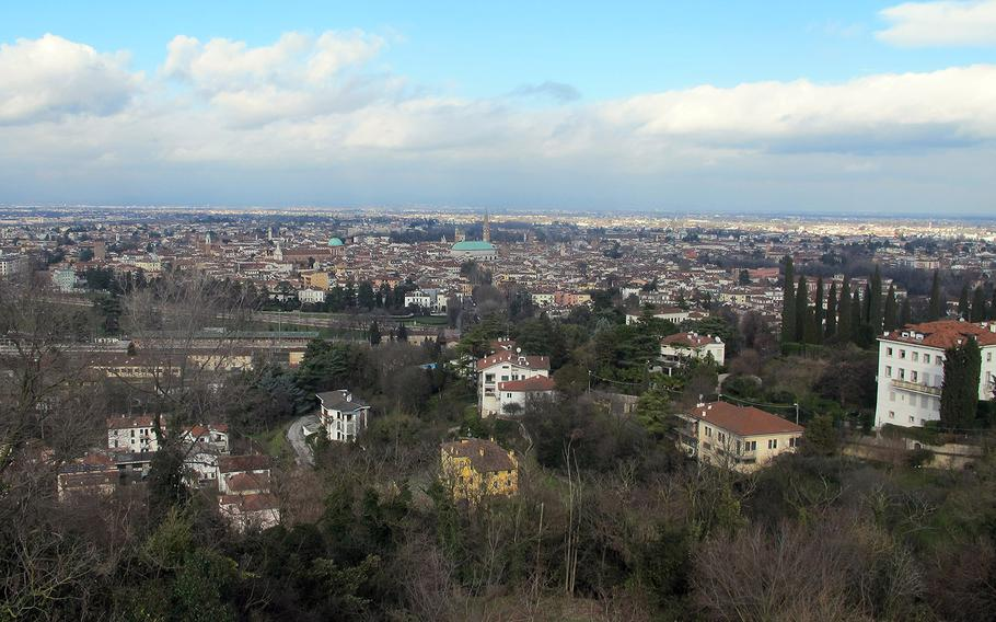 The view extends for miles at the parking lot of the Santuario della Madonna di Monte Berico, from the city of Vicenza to Monte Grappa, the foothills of the Alps and the Venetian Lagoon.