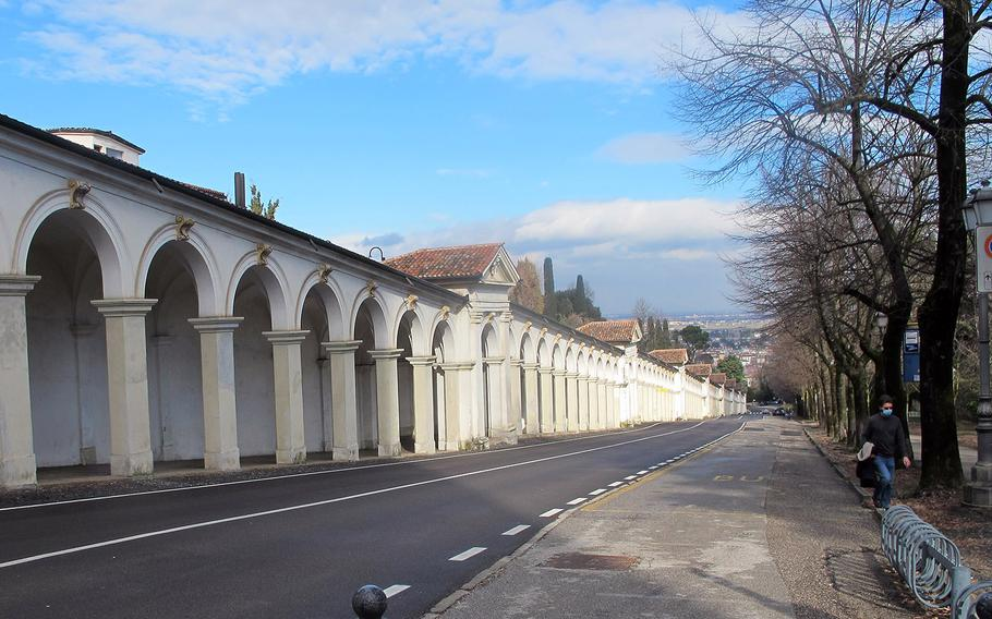 The winding road up to the Santuario della Madonna di Monte Berico is popular with bikers and motorcyclists. Motorists can marvel at the 150 arches alongside the road meant to shelter pilgrims.