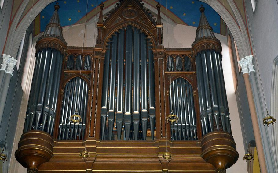 The organ inside the Marktkirche in Wiesbaden, Germany, was built in the 19th century and has more than 6,000 pipes.