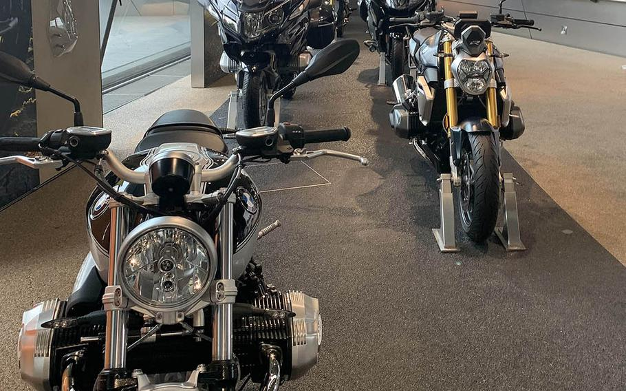 The second floor of the BMW Welt features different motorcycles produced by BMW, as seen Oct. 14, 2020.