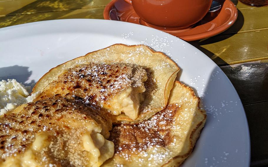 The creme brulee pancakes from Under the Cascade in Tachikawa, Japan, are not quite a pancake and not quite a crepe.