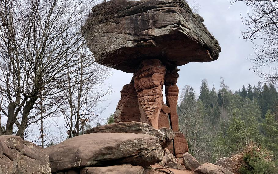 The Devil's Table is a 46-foot-tall mushroom-shaped rock in Germany's Palatinate Forest.