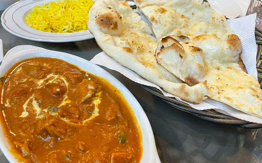The chef's special chicken curry and garlic naan from Mito Cha near Osan Air Base, South Korea, are a winning combination.