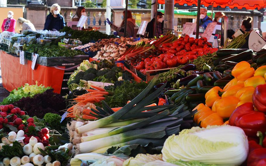 Fresh vegetables on sale at the Wiesbaden, Germany, farmers' market on March 3, 2021.