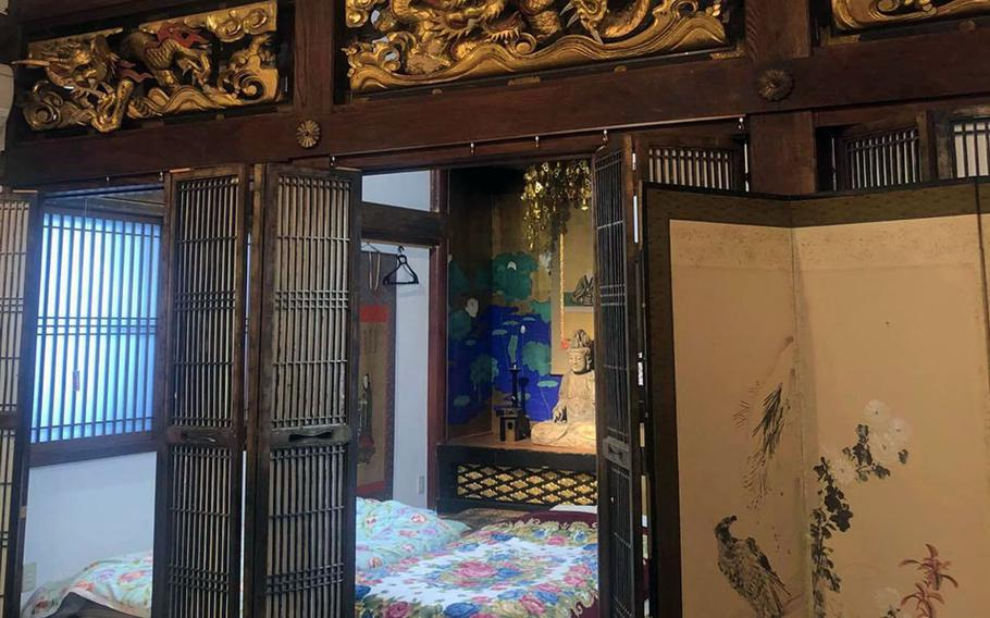 Hotaru, a temple-turned-inn in Niigata prefecture, Japan, has four futon-style beds, all in one tatami room. It also includes a bathroom, shower and small kitchen.
