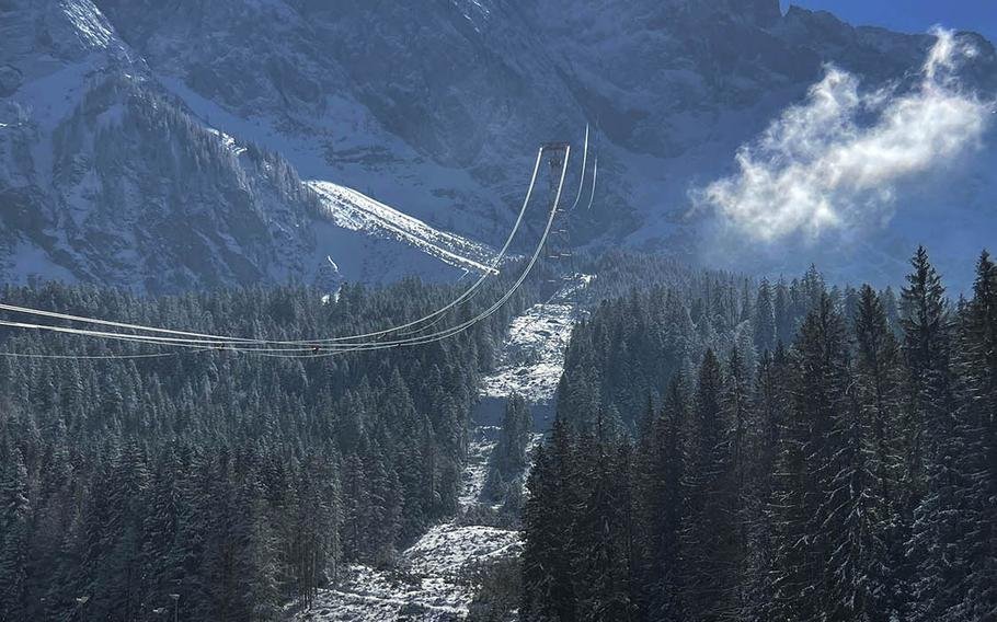 The front of the Zugspitze cable car path on March 6, 2021 in Grainau, Germany. The Zugspitze is currently closed, but visitors can park nearby and hike the surrounding trails.