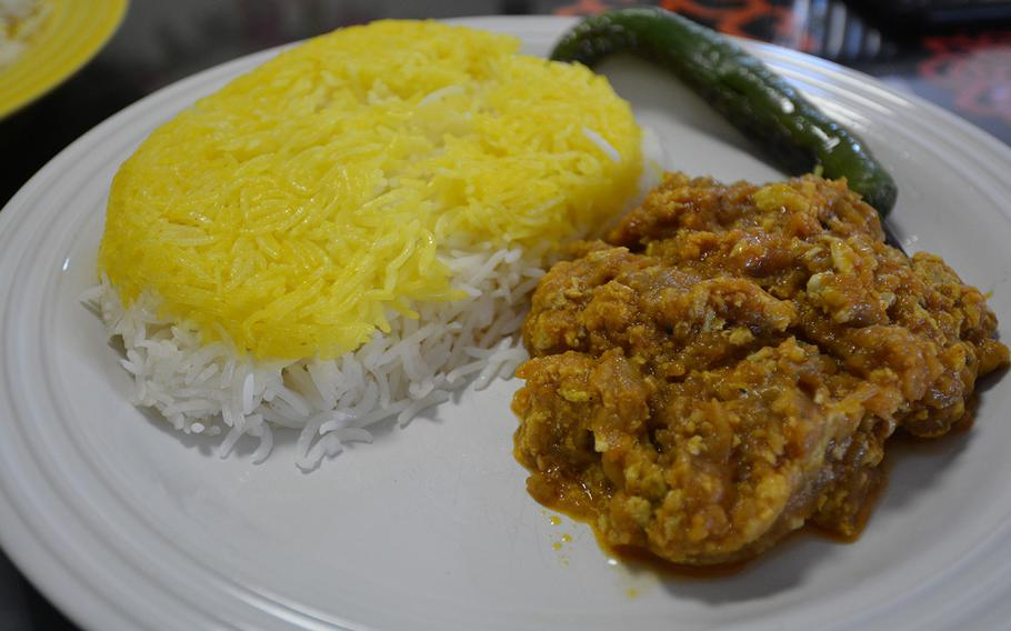 The smoky eggplant with saffron basmati rice delivered by Termeh in Kaiserslautern, Germany. The Persian restaurant has become one of the better delivery options in the city since the pandemic began.