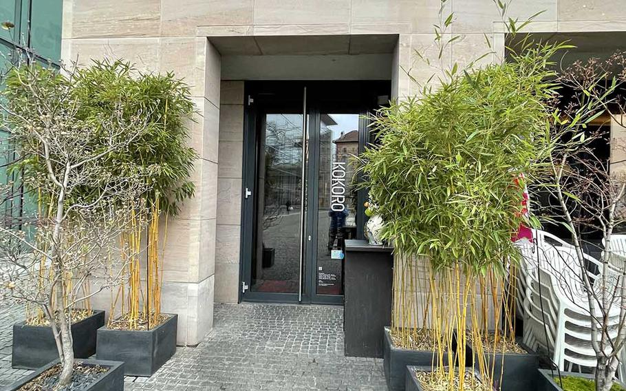 The entrance to Kokoro on April 12 in Nuremberg, Germany. Kokoro offers Japanese cuisine for takeout and delivery only while pandemic restrictions are in effect.