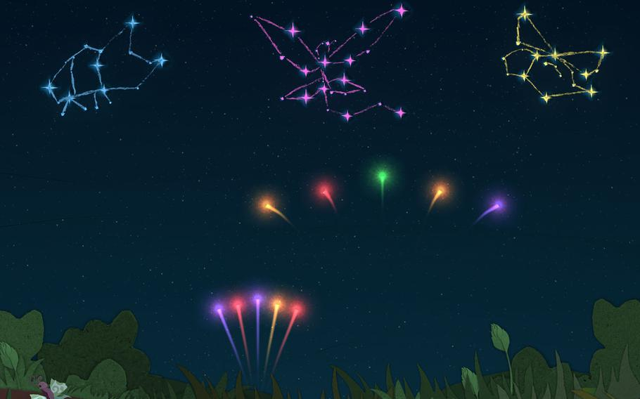 """Each segment of """"Ephemerid: A Musical Adventure"""" introduces a new gameplay element, like this part where flicking stars to their matching colors adds to the constellation."""