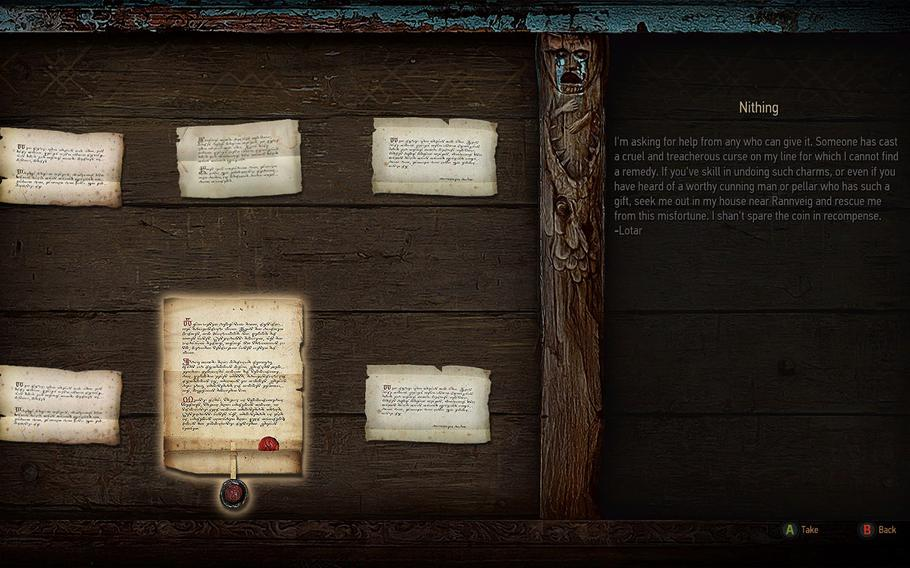 While traveling around the world, Geralt will be able to pick up quests and specialized witcher contracts from notice boards found in towns and cities.
