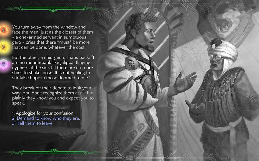 """""""Torment: Tides of Numenera"""" is not a game for those not fond of reading. These choose your own adventure vignettes are one example of the use of text to push the game's narrative along."""