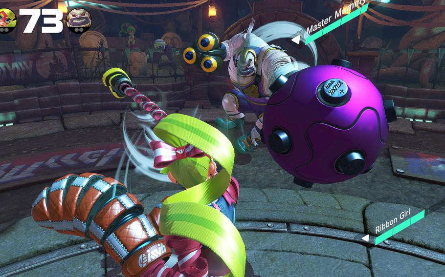 """Nintendo's """"Arms"""" features a chipper cast of pugilists and its motion controls make it very enticing, both as a party game and an inoffensive title parents can feel safe to give to young gamers."""