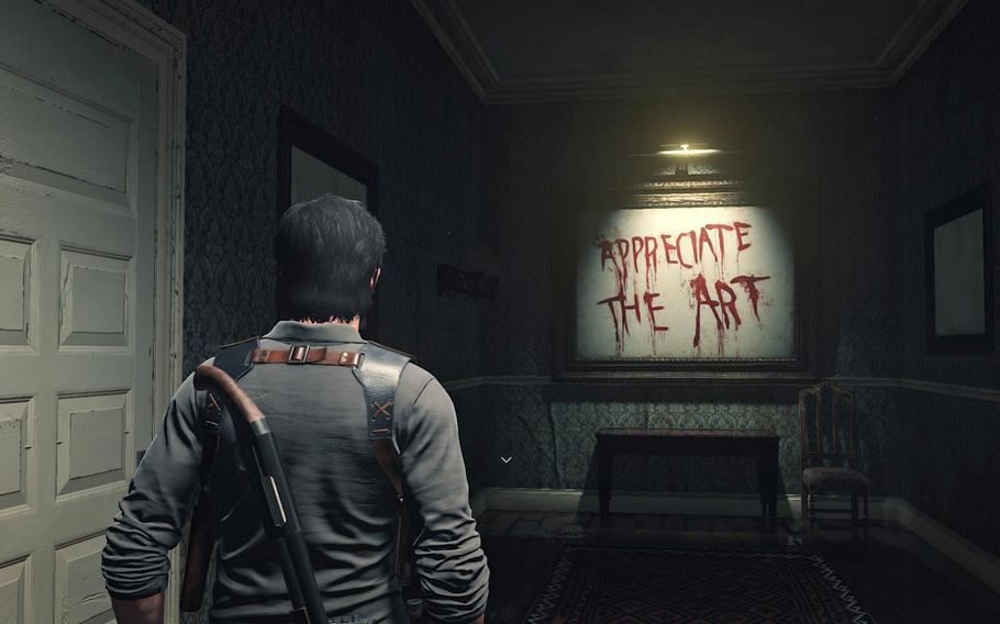 """Pretty direct message from Tango Gameworks in """"The Evil Within 2."""" Appreciate the art, indeed."""