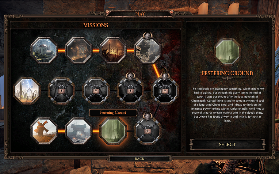 There is a level progression to 'Vermintide II,' but once unlocked each mission can be selected individually.
