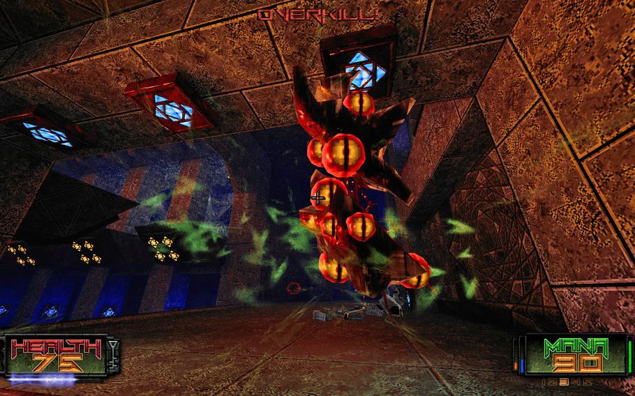 """Enemies in """"Amid Evil"""" are interestingly designed and have fun attack patterns. They can attack from ceilings, sidewalls and floating in mid-air. Nowhere is safe."""