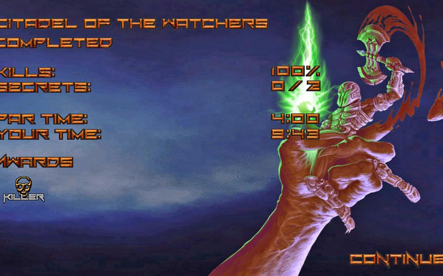 The end of each level was a good reminder for how terrible I am at old-school first-person shooters.
