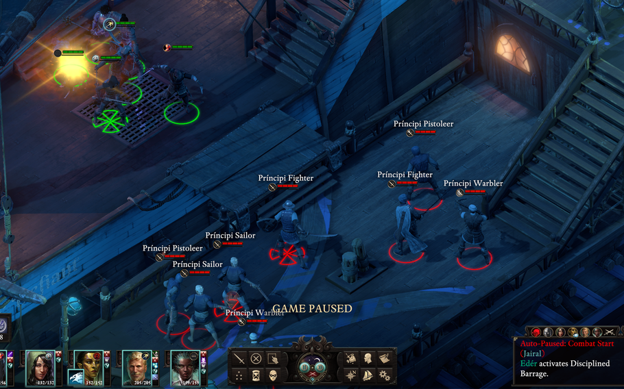 """Battles in """"Pillars of Eternity II: Deadfire"""" rely on the tried-and-true real time with pause combat system. Queue up an action and watch blood fly!"""