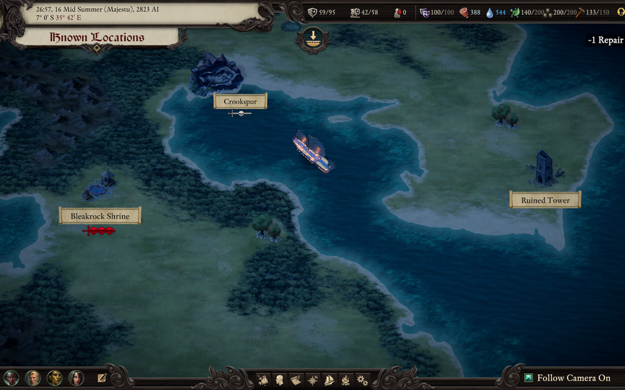 """Exploration on the world map in """"Pillars of Eternity II: Deadfire"""" largely takes place on the open waters."""