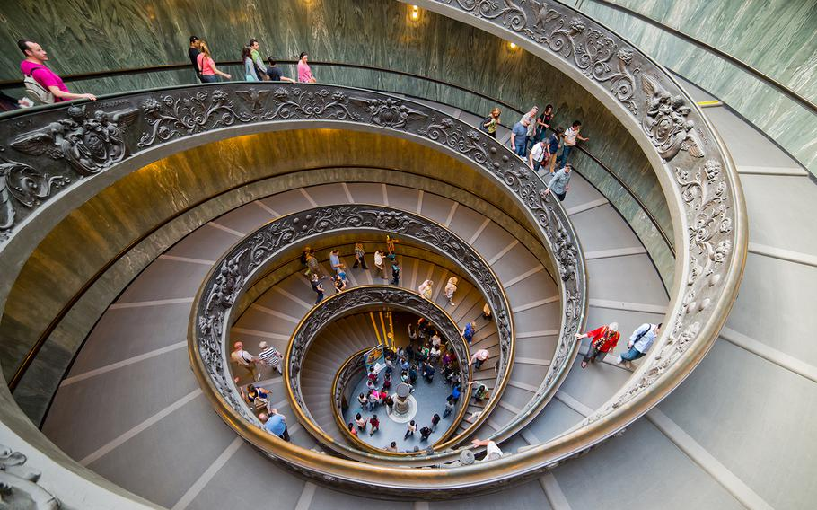 The beautiful Bramante's Staircase -- actually two staircases -- is one of the famous sites within Vatican City's museums.