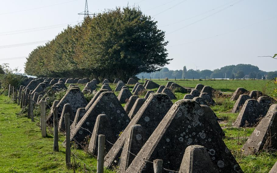 """The Siegfried Line's distinctive """"dragon's teeth"""" anti-tank obstacles delineate this portion of the World War II defense system in Germany."""