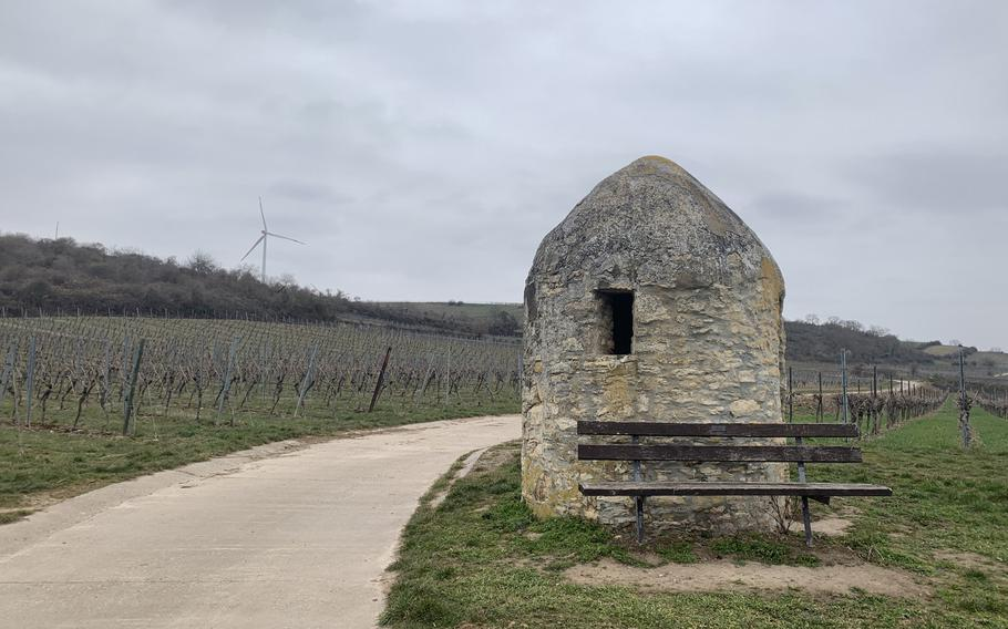 A stone shelter on a path through the vineyards north of Bockenheim an der Weinstrasse, about 28 miles northeast of Kaiserslautern, March 23, 2021.