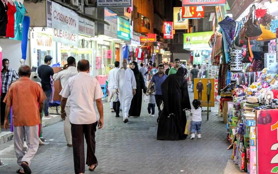 The Manama Souq in Manama, Bahrain, is busy with shoppers on Sept. 16. Clothing, jewelry, spices and leather goods are all for sale here.
